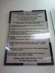 Fry's Restroom, Fremont, CA
